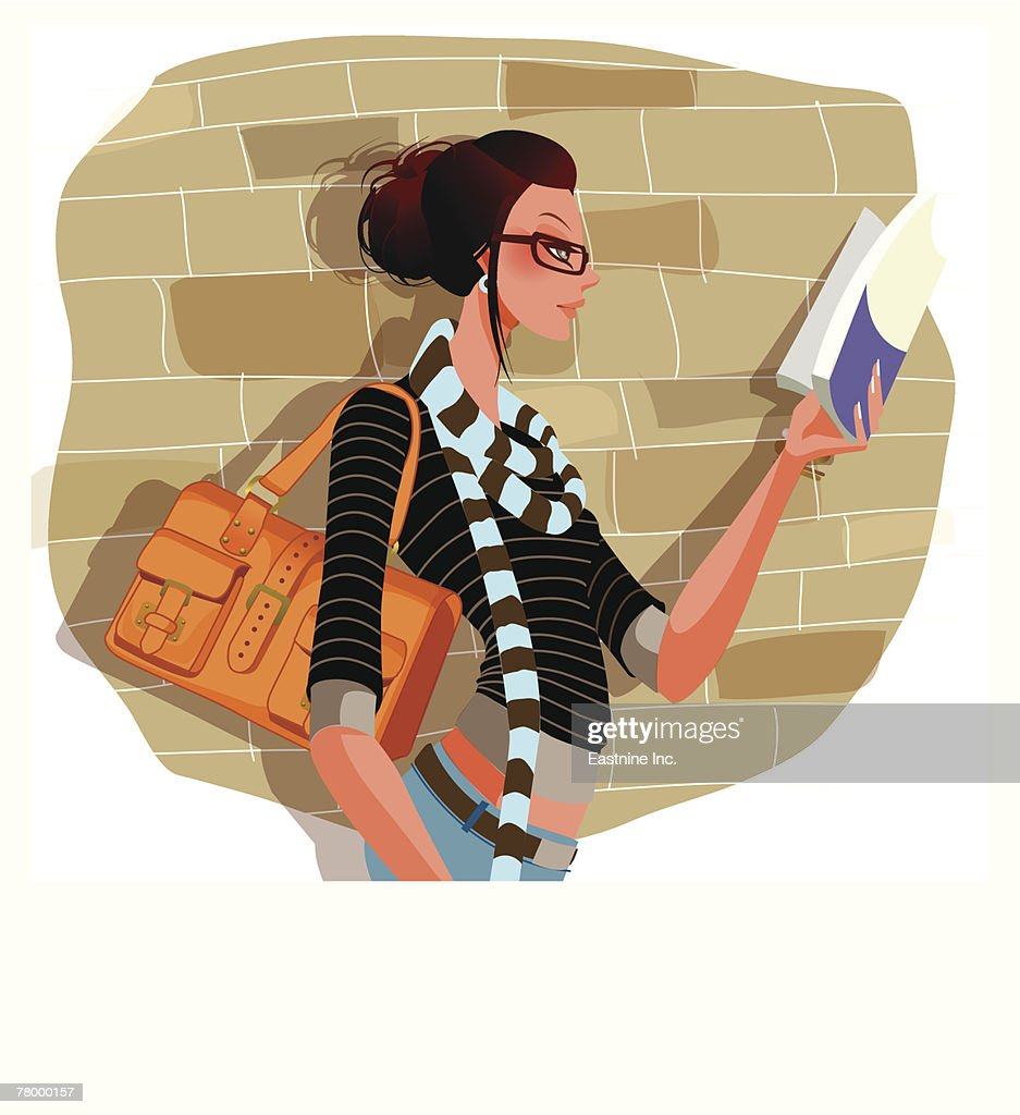Side profile of a woman reading a book : stock illustration