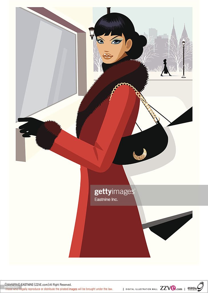 Side profile of a woman standing in front of a store : stock illustration