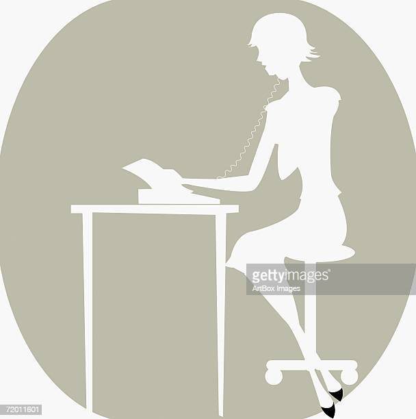side profile of a woman talking on the telephone - phone cord stock illustrations, clip art, cartoons, & icons