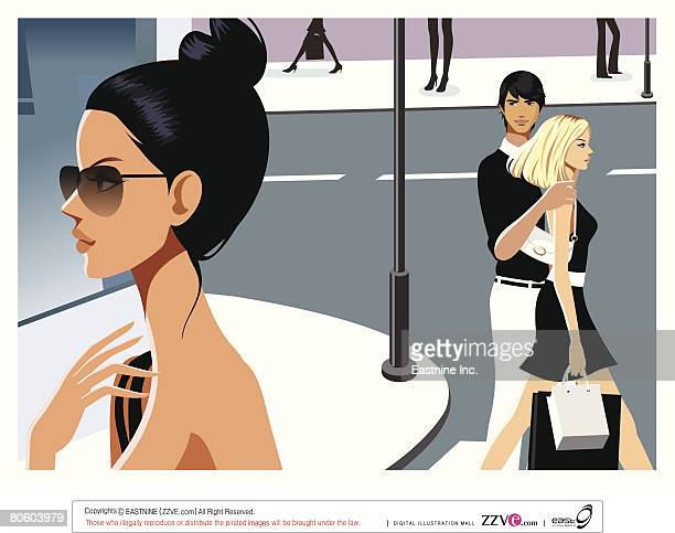 side profile of a woman with a couple walking in the background - zebra crossing stock illustrations