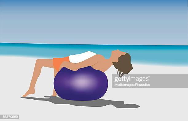 side profile of a young woman reclining on an exercise ball - lying on back stock illustrations, clip art, cartoons, & icons