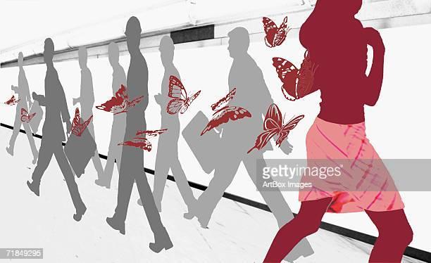 ilustrações, clipart, desenhos animados e ícones de side profile of men and women walking on a pedestrian walkway - grupo mediano de animales