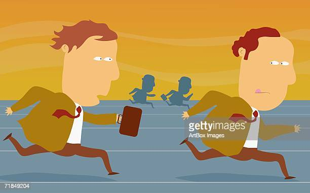 Side profile of two businessmen running a relay race