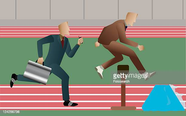 side profile of two businessmen running on a running track - フォーマルウェア点のイラスト素材/クリップアート素材/マンガ素材/アイコン素材