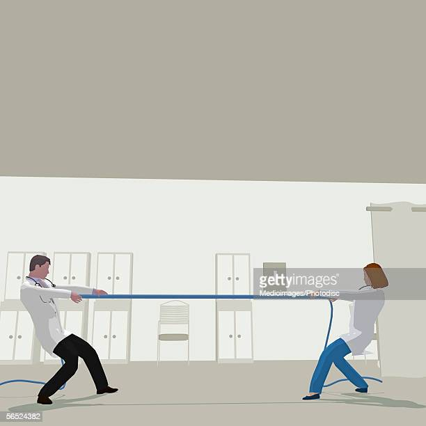 Side profile of two doctor's tugging at a rope