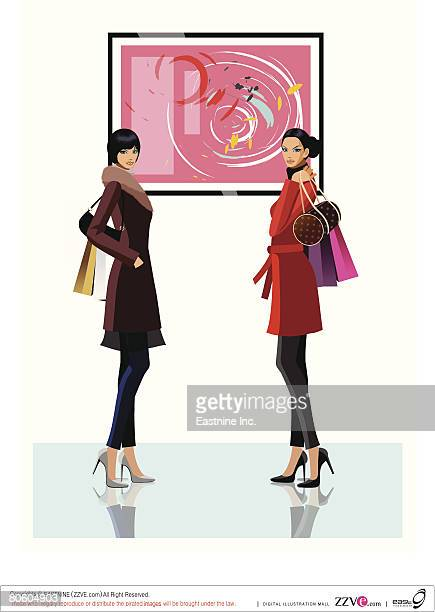 side profile of two women holding shopping bags in front of a painting - updo stock illustrations, clip art, cartoons, & icons