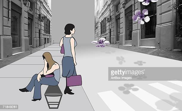 side profile of two women on the sidewalk - zebra crossing stock illustrations