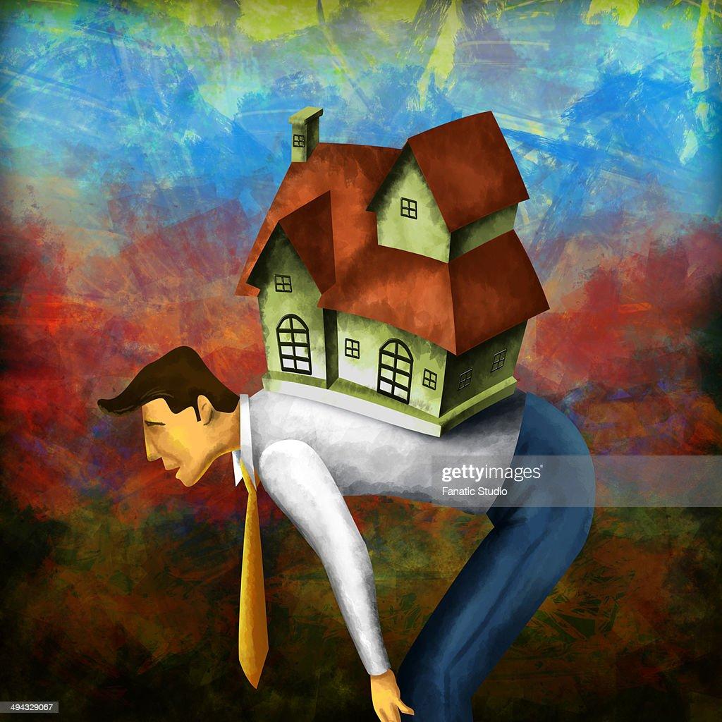 Side view of a businessman bending with model home on back depicting home loan burden : stock illustration