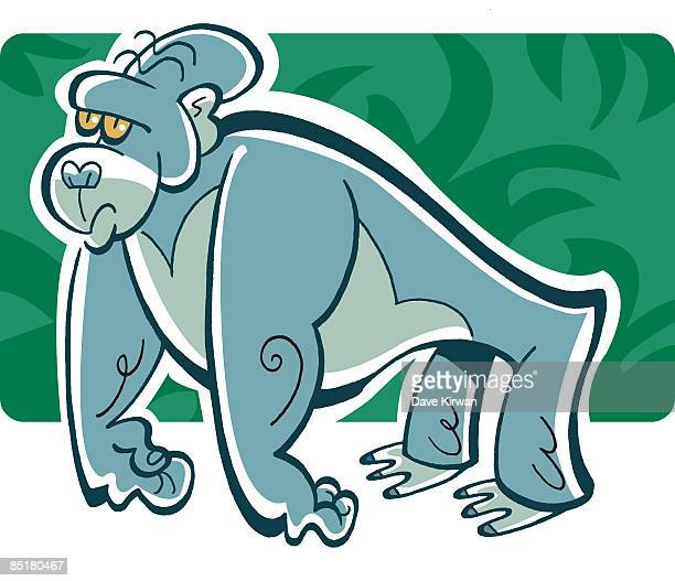 side view of a gorilla - number of people stock illustrations, clip art, cartoons, & icons
