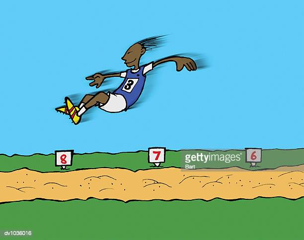 side view of an athlete making a long jump in mid air above a sand pit - sand trap stock illustrations, clip art, cartoons, & icons