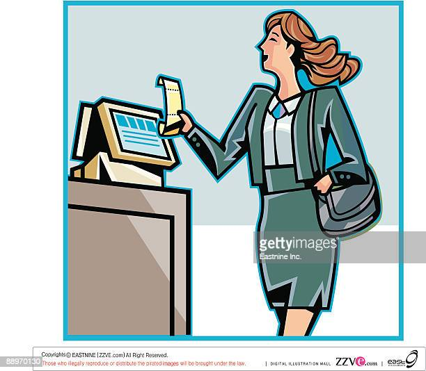 side view of businesswoman holding bill by counter - spending money stock illustrations, clip art, cartoons, & icons