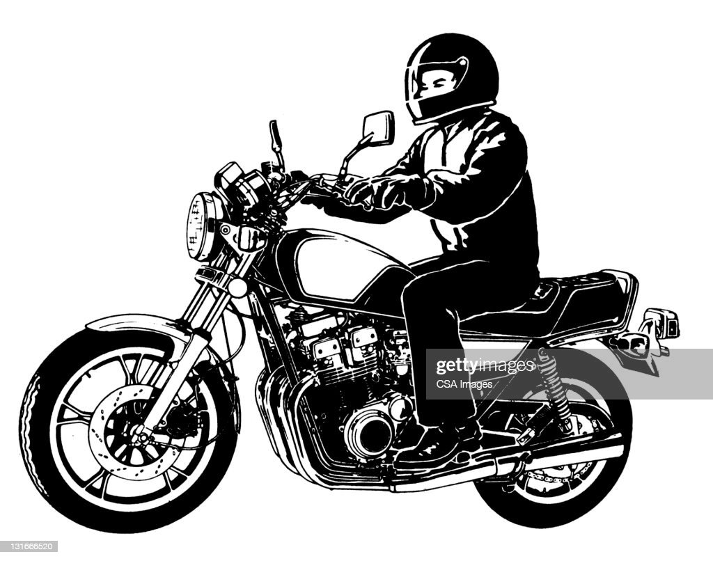 Side View of Motorcycle and Rider : stock illustration