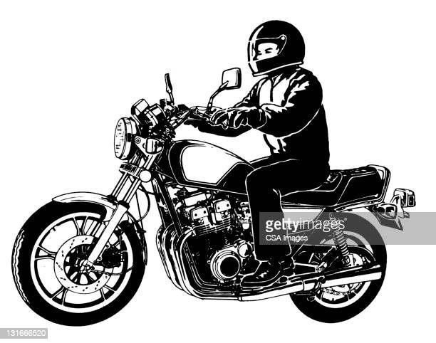 side view of motorcycle and rider - motorcycle helmet stock illustrations, clip art, cartoons, & icons