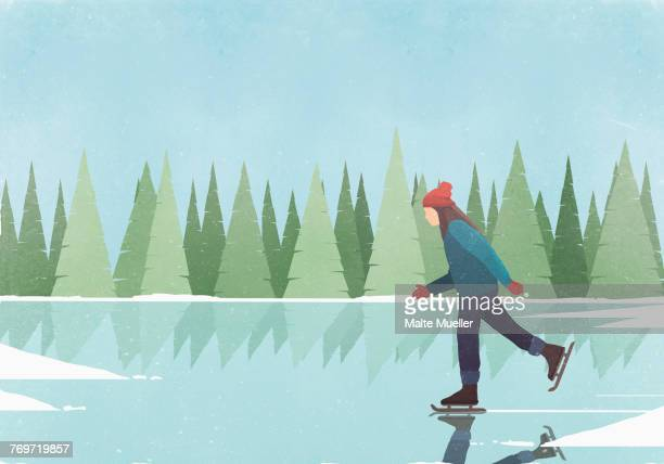 side view of woman ice-skating on rink against blue sky - ice skating stock illustrations, clip art, cartoons, & icons
