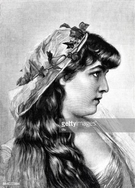 Side view Portrait of a Greek bride