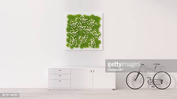 sideboard, bicycle and living wall, 3d rendering - domestic room stock illustrations, clip art, cartoons, & icons