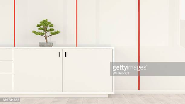 Sideboard with bonsai in a room, 3d rendering