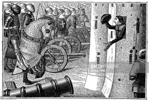 siege in alancon - hundred years war stock illustrations, clip art, cartoons, & icons