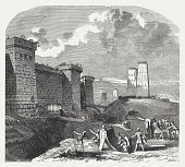 siege fortified city maccabees wood engraving