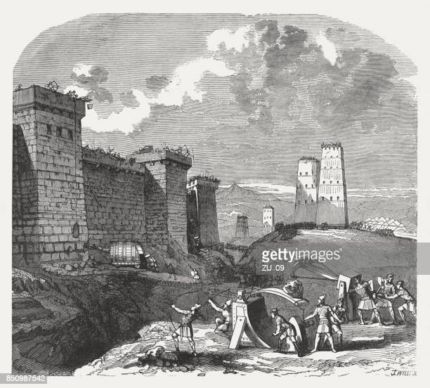 Siege of a fortified city in the past, published 1886