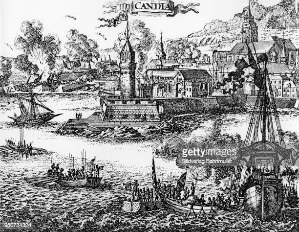 siege of candia, today heraklion, on crete by the turks 1669, copper engraving - greek islands stock illustrations, clip art, cartoons, & icons