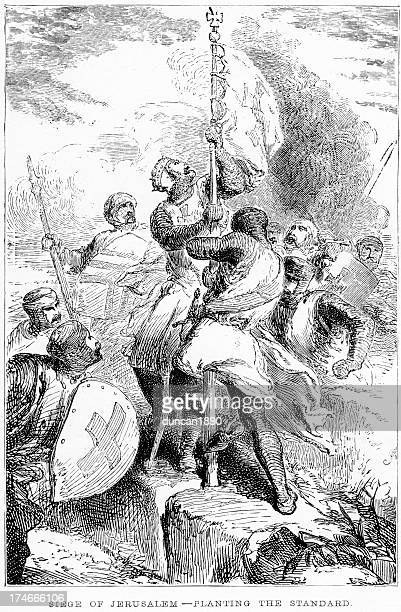 siege of jerusalem the first crusade - siege stock illustrations