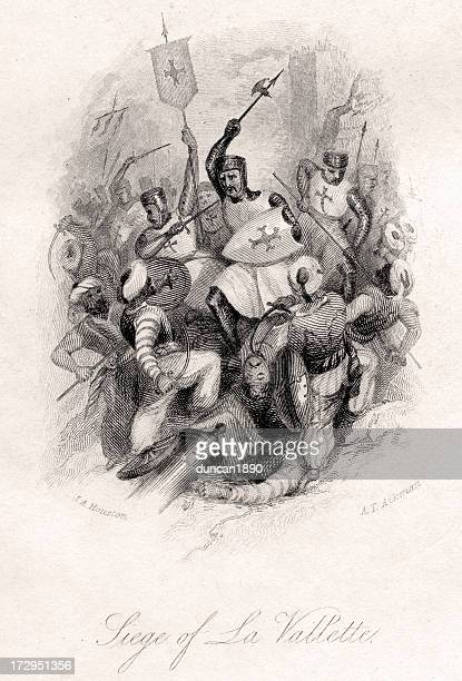 siege of la valletta - siege stock illustrations