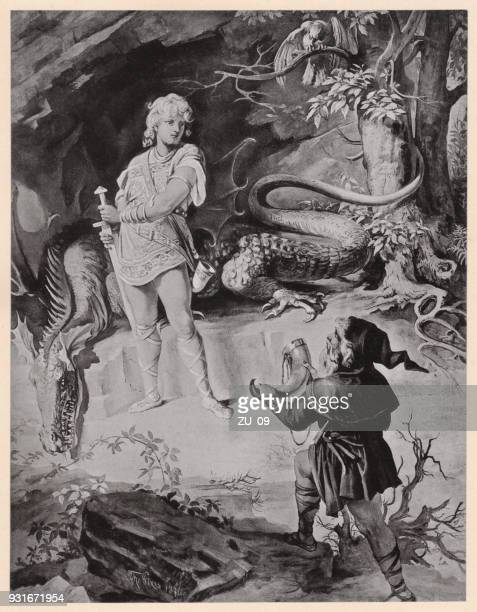 siegfried and mime, (siegfried, the ring of nibelung, richard wagner) - mythological character stock illustrations, clip art, cartoons, & icons