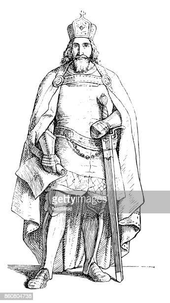 sigismund ,house of luxembourg, holy roman emperor - holy roman emperor stock illustrations