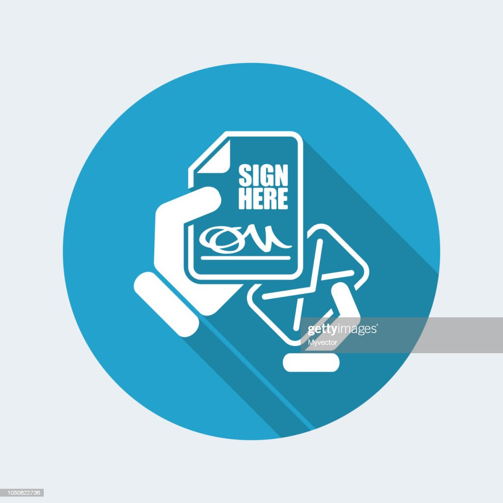 Sign here document - Vector icon