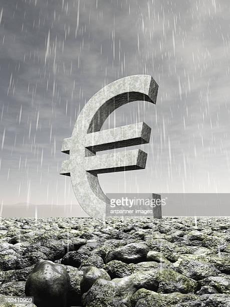 euro sign in heavy rain - finanzen stock illustrations