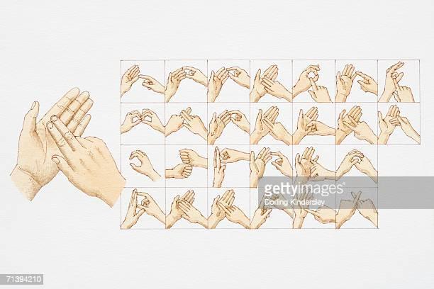 illustrations, cliparts, dessins animés et icônes de la langue des signes de main postes pour toutes les lettres du - perte auditive