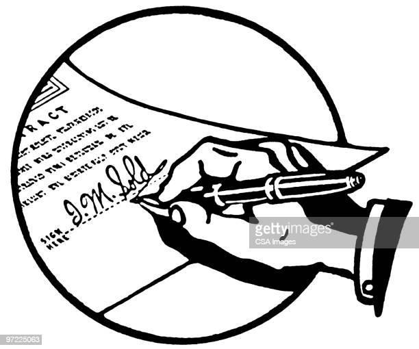 signature - vertrag stock-grafiken, -clipart, -cartoons und -symbole