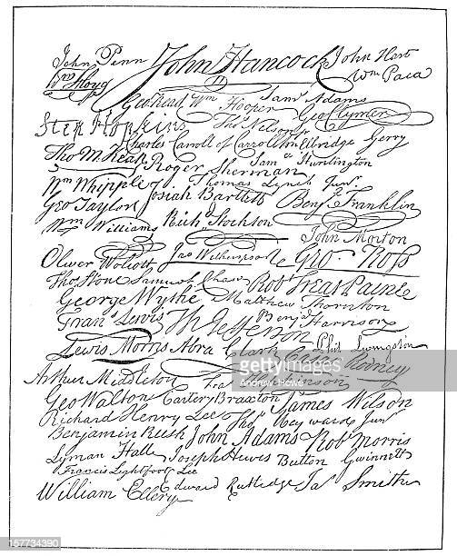 signatures - declaration of independence - declaration of independence stock illustrations