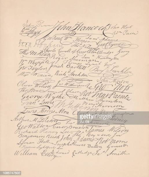 signatures on the united states declaration of independence (1776), facsimile - declaration of independence stock illustrations