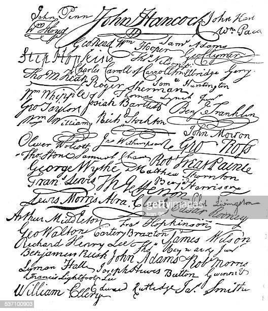 signatures to the american declaration of independence - declaration of independence stock illustrations