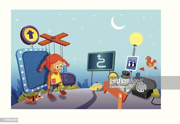 signboards and a marionette at night - yellow taxi stock illustrations, clip art, cartoons, & icons