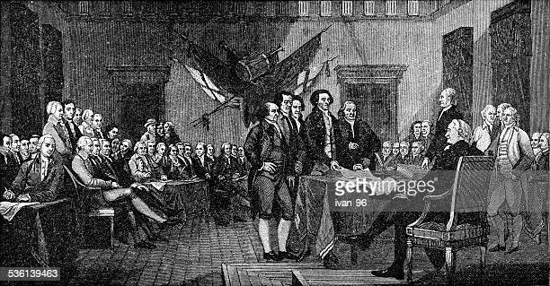 signing of the declaration of independence - declaration of independence stock illustrations