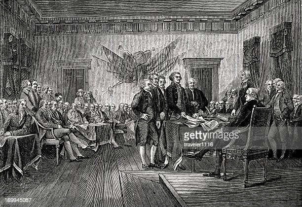 signing the declaration of independence - declaration of independence stock illustrations