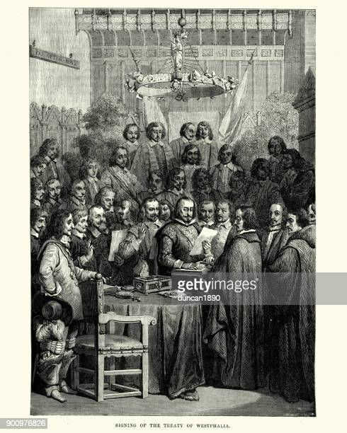 signing the treaty of westphalia - north rhine westphalia stock illustrations