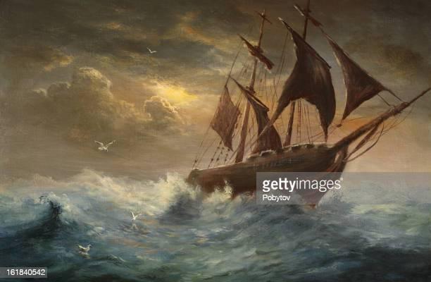 silhouette a schooner - storm stock illustrations