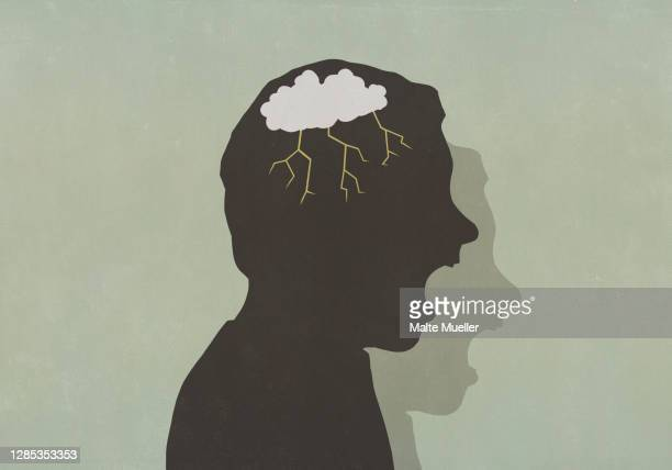 silhouette angry man with storm cloud in head screaming - voice stock illustrations