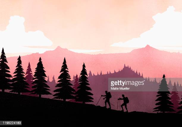 silhouette backpackers with hiking poles ascending mountain slope - image technique stock illustrations