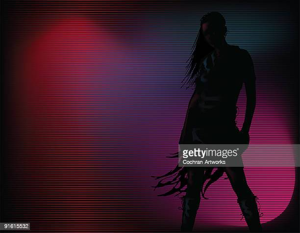 Silhouette girl with dramatic lighting