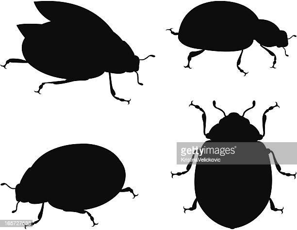 silhouette ladybug - image technique stock illustrations
