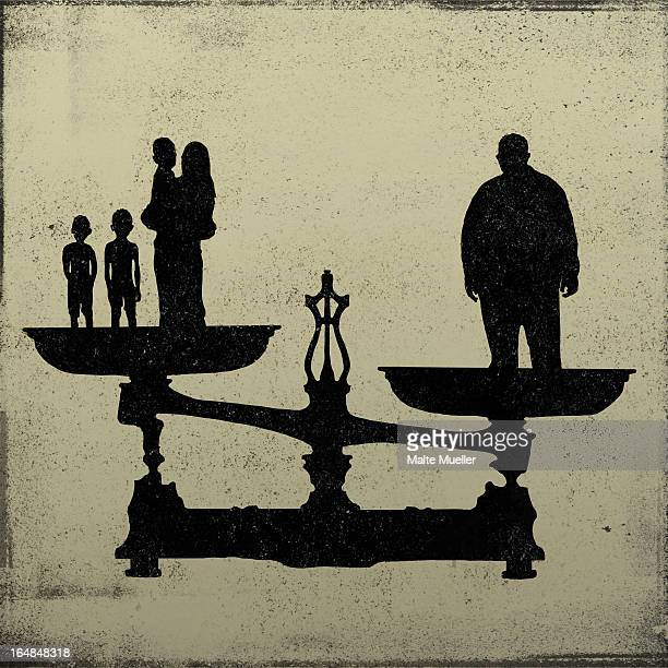 silhouette of a big man on one end of a scale and a women and kids on the other - battle of the sexes concept stock illustrations
