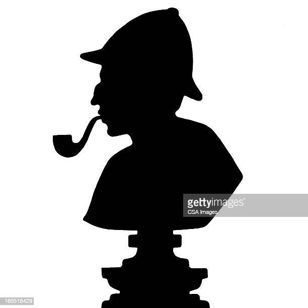 silhouette of a detective - bong stock illustrations