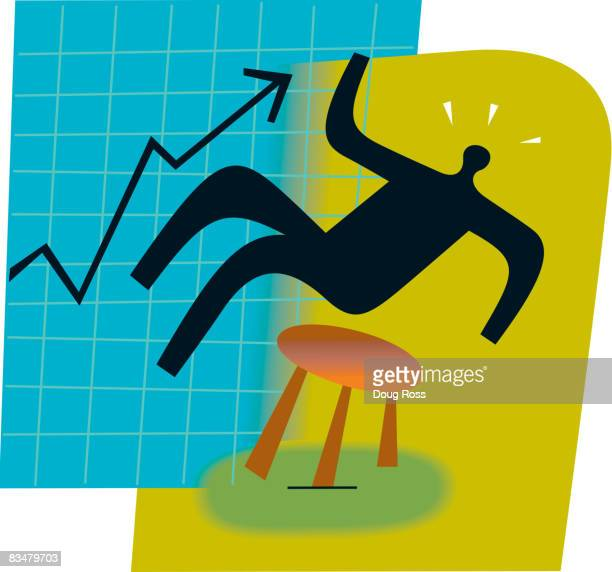 silhouette of a falling man and a graph indicating unexpected gains - nasdaq stock illustrations, clip art, cartoons, & icons