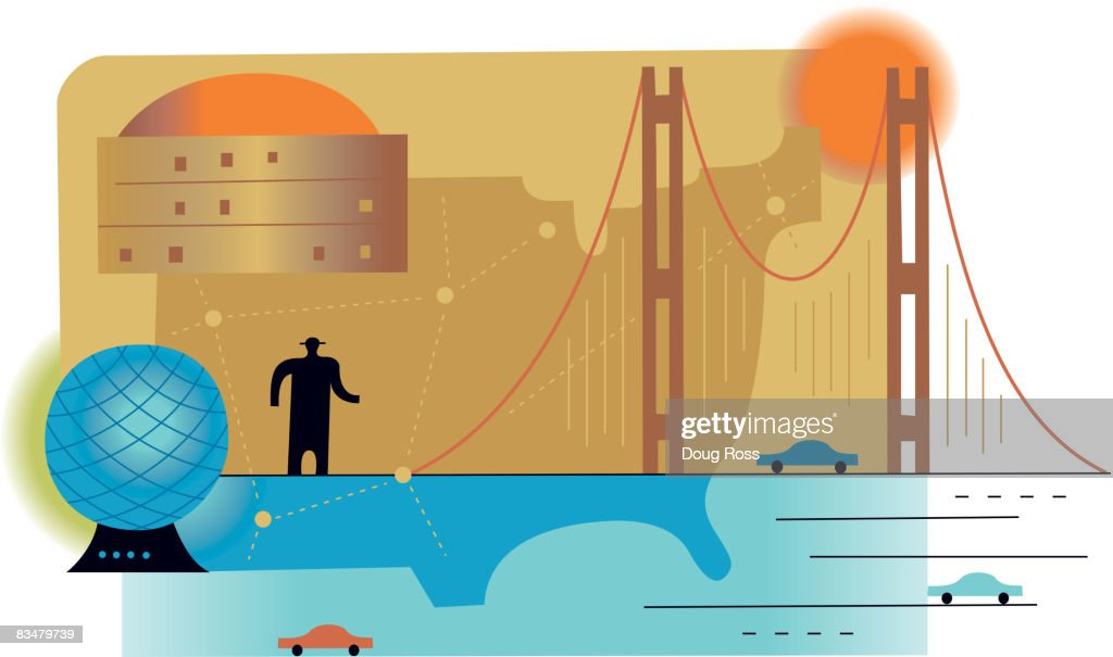 Silhouette Of A Man Standing On A Bridge With The Us Map As - Us map man