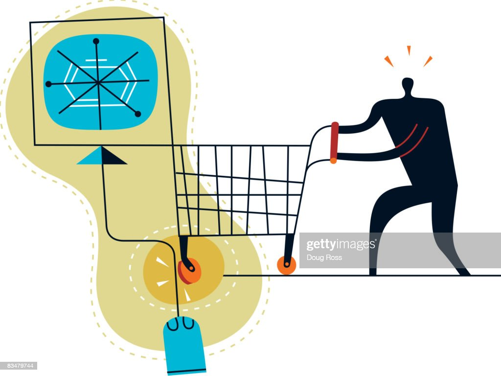 Silhouette of a man with shopping cart encountering a speed bump : stock illustration